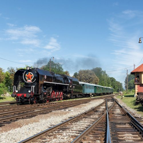 Osobitný vlak 31263 pri príchode do Fiľakova